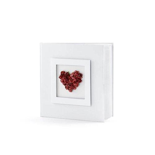 Luxe gastenboek rood hart met rode rozen en satijnen strik
