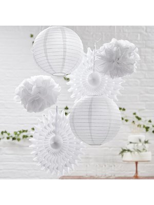 feestpakket met hangende versiering wit (Ginger Ray)
