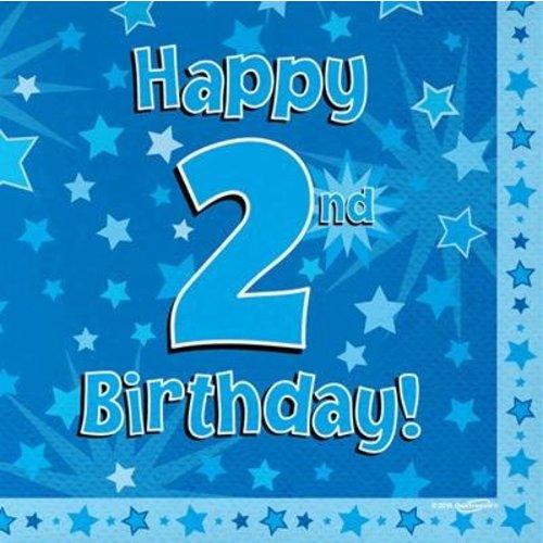 versiering 2 jaar jongen: servetten happy 2nd birthday
