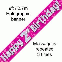 versiering 2 jaar roze banner met hartjes