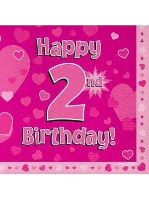 versiering 2 jaar meisje: servetten happy 2nd birthday