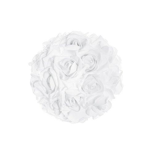 autoversiering bruiloft boeket rozen met parels wit 30cm.