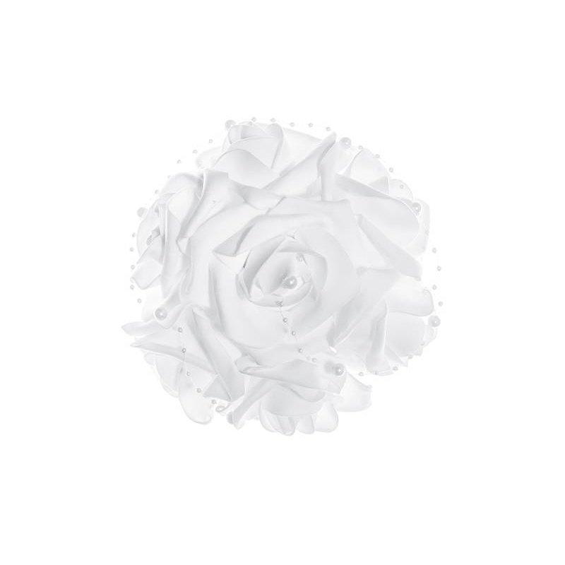 autoversiering bruiloft boeket rozen met parels wit 20cm.