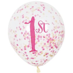 6 doorzichtige ballonnen met cijfer 1 + confetti