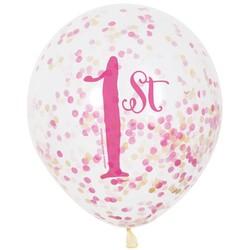 Ballon 1 jaar: 6 doorzichtige ballonnen met cijfer 1 + confetti