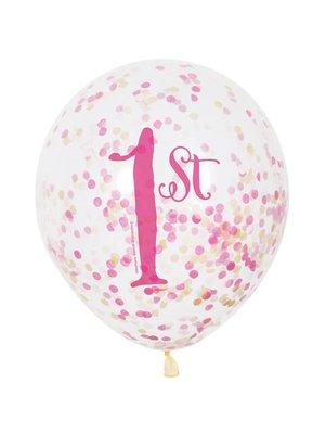 Ballon 1 jaar roze: 6 doorzichtige ballonnen met cijfer 1 + confetti