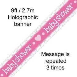 babyshower versiering banner roze