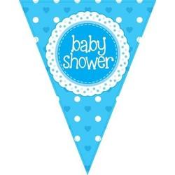 babyshower versiering slinger / vlaggenlijn blauw
