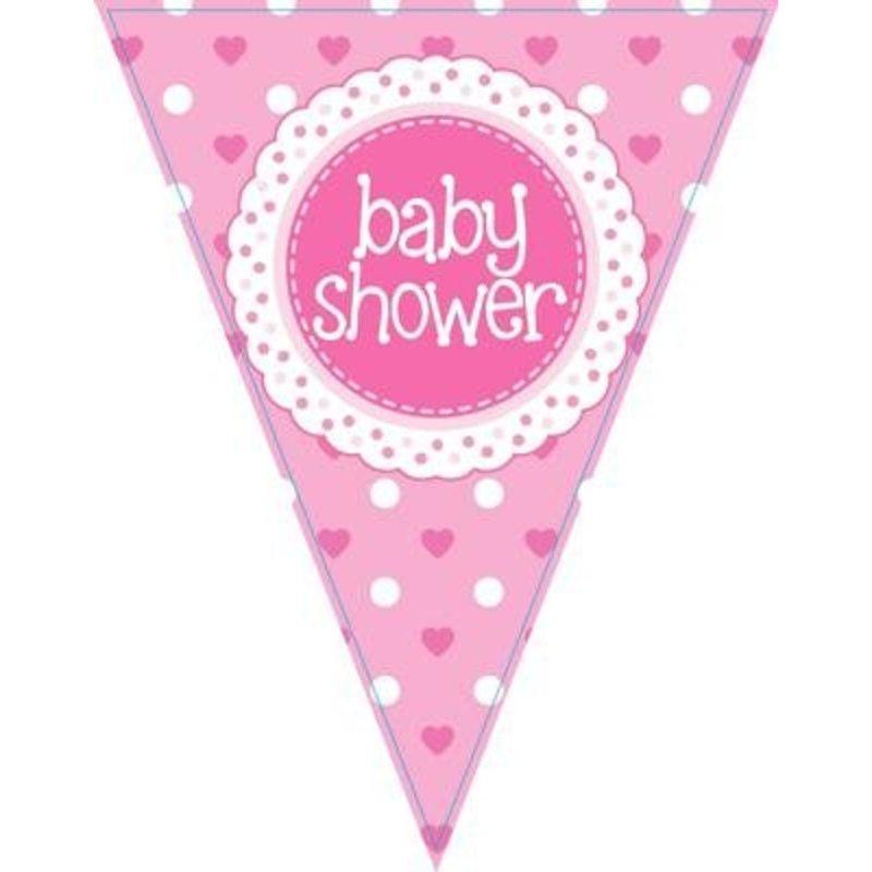 babyshower versiering slinger / vlaggenlijn roze