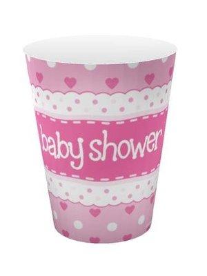 babyshower versiering bekers roze