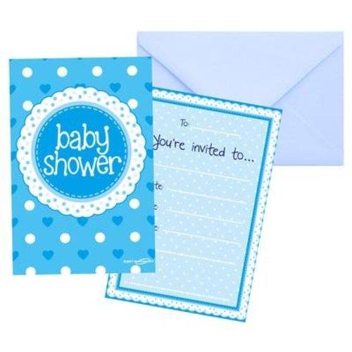 babyshower versiering uitnodigingen blauw