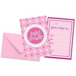 babyshower versiering uitnodigingen roze