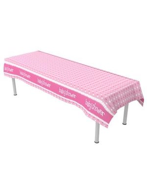 babyshower versiering tafelkleed roze