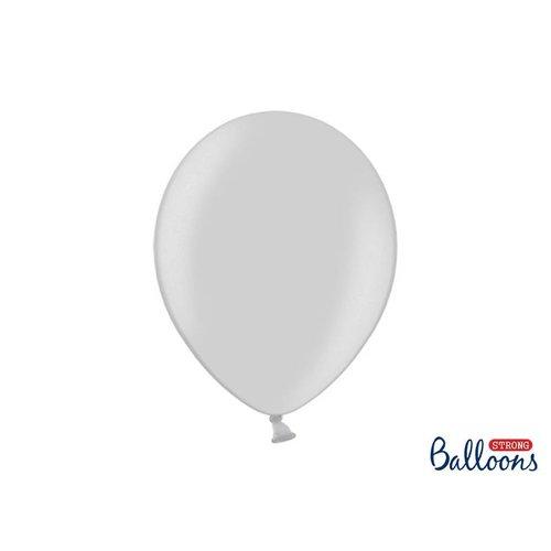 Premium ballonnen 30cm in mat, metallic en cristal. Grijs / zilver