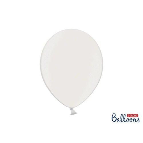 Premium ballonnen 30 cm in mat, metallic en cristal. Wit