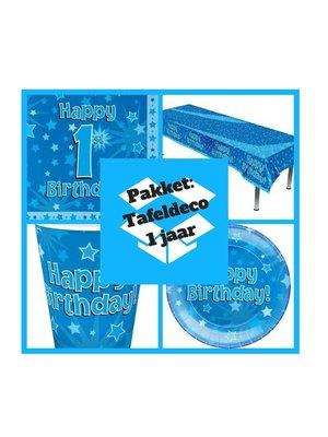 eerste verjaardag 1 jaar versiering  tafel deco pakket jongen (pakket 3.)
