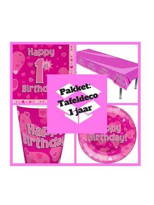 Eerste verjaardag 1 jaar versiering tafel deco pakket meisje (pakket 4.)