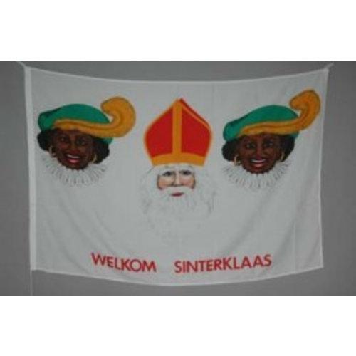 Vintage vlag Sint en zwarte Piet