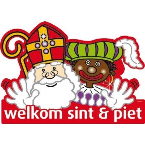 Deur / muur bord van karton: Welkom Sint & Piet
