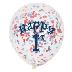 Ballon 1 jaar blauw: 6 doorzichtige ballonnen met cijfer 1 + confetti
