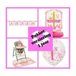 Decoratie pakket 1 jaar versiering roze/goud  (pakket 2)