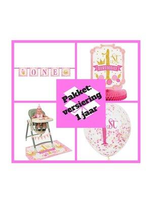 Eerste verjaardag versiering decoratie pakket 1 jaar versiering roze/goud  (p. 2)