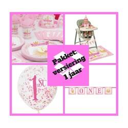 Premium pakket 1 jaar versiering roze/goud  (pakket 1)