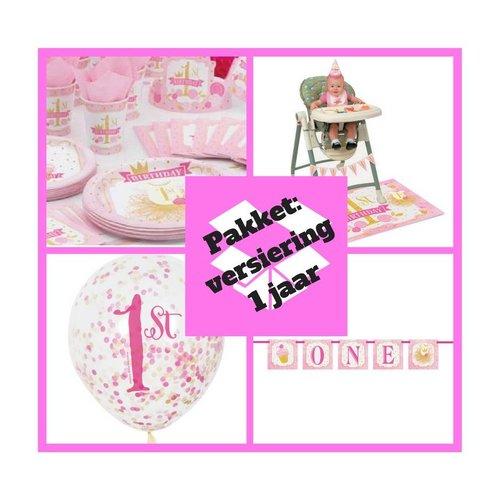 Eerste verjaardag premium pakket 1 jaar versiering roze/goud  (p. 1)