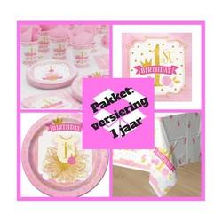 Tafel decoratie pakket 1 jaar versiering roze/goud  (pakket 3)