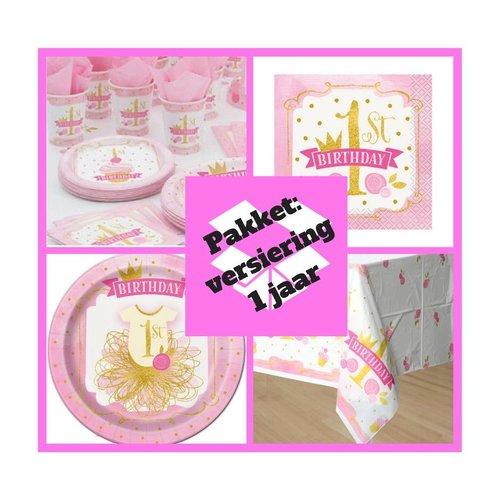 Eerste verjaardag tafel decoratie pakket 1 jaar versiering roze/goud  (pakket 3)