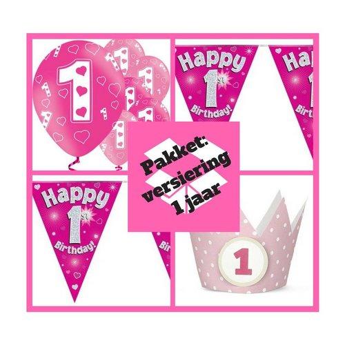1 jaar versiering  + verjaardagskroontjes pakket meisje - roze -pakket 8