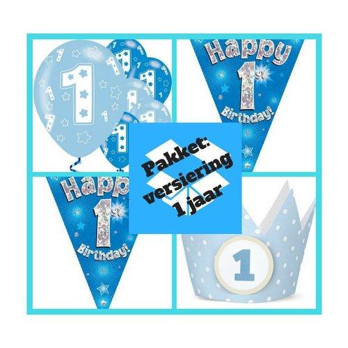 1 jaar versiering jongen + verjaardagskroontjes pakket 7 blauw