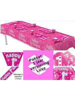 1 jaar versiering meisje - roze - hartjes  (pakket 6.)