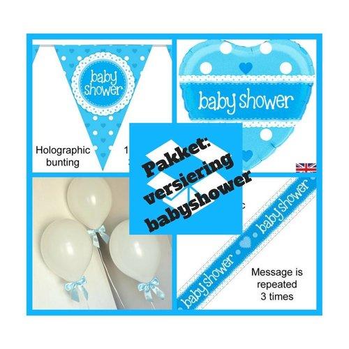 Babyshower versiering pakket blauw - pakket 3