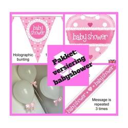 Babyshower versiering meisje pakket roze - pakket 4