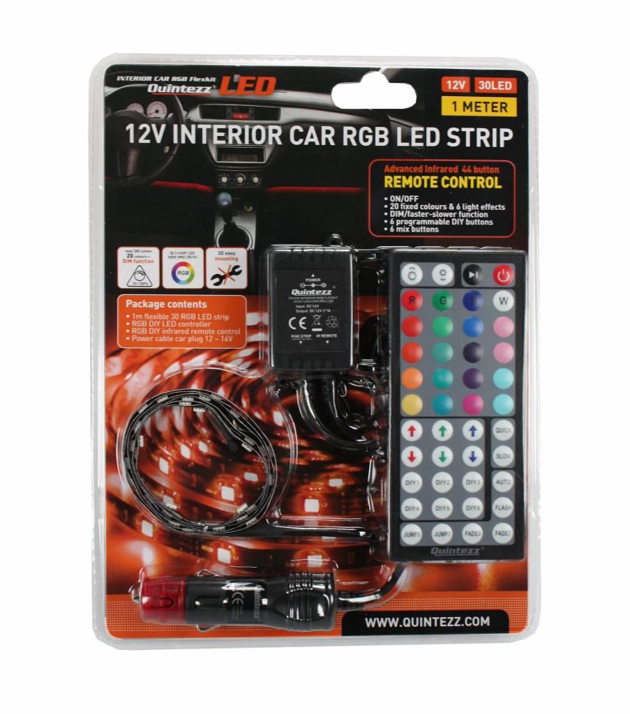 Led strips interieur auto led verlichting watt for Auto interieur verlichting