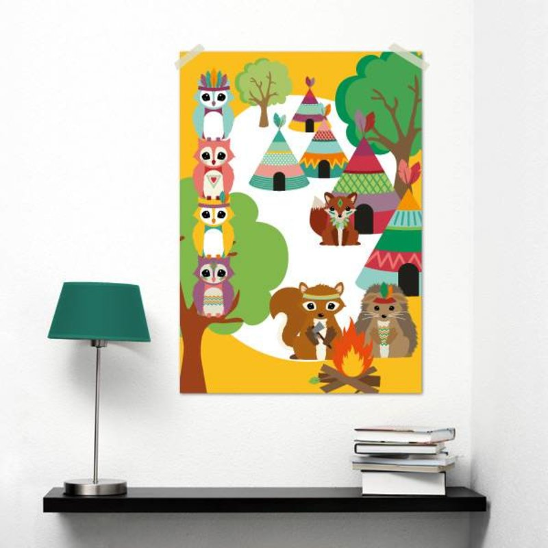 Oktoberdots A3 Poster Woodland Indianen