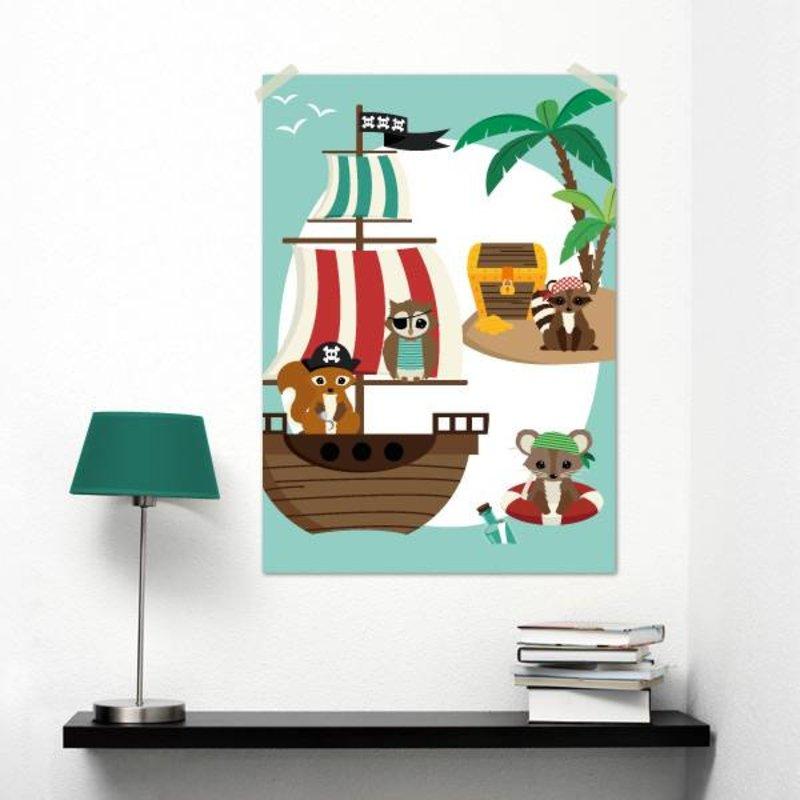 Oktoberdots A3 Poster Woodland Piraten