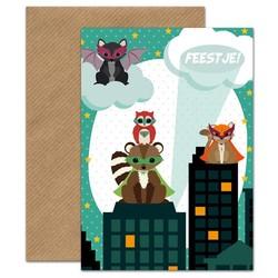 Oktoberdots Uitnodiging Woodland Superhelden