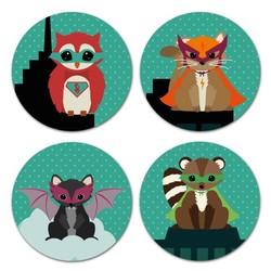 Oktoberdots Set Stickers Woodland Superhelden