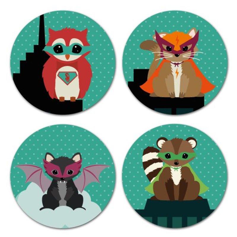 Oktoberdots Stickers Woodland Superhelden