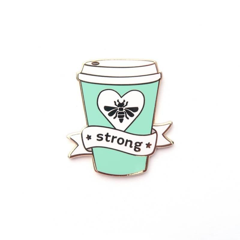 LittleLeftyLou Emaillen pin Bee Strong Mint
