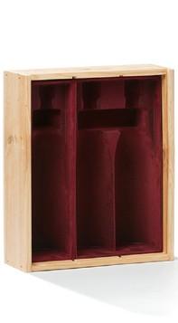 Rietveld Wines Houten scharnierkist 3 vaks inclusief fluwelen inleg
