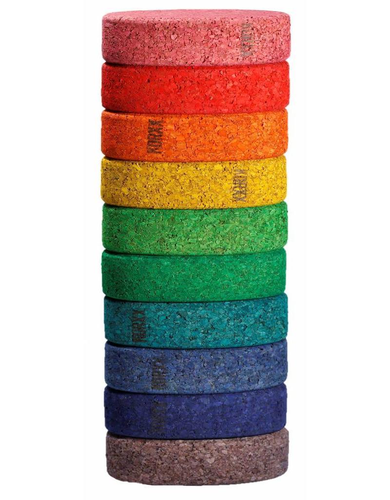 Korxx Tien (10) ovalen gekleurde bouwblokken van kurk