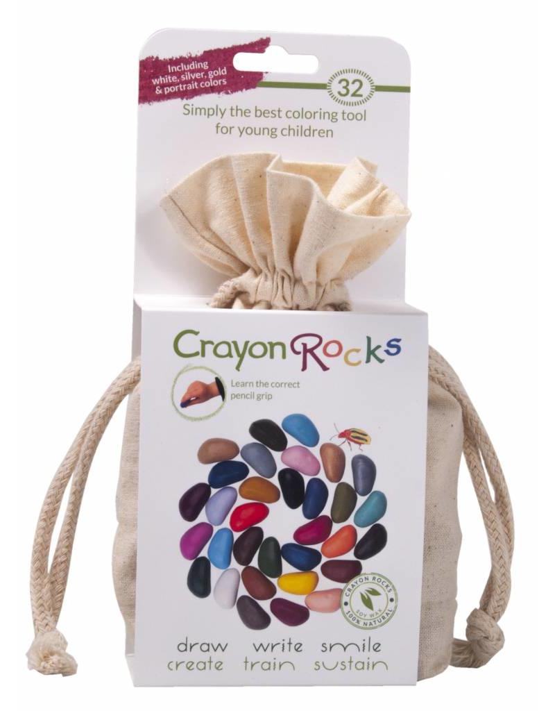 Crayon Rocks Thirty-two (32) crayons of soywax in spring, summer, autumn and winter colors in a cotton muslin bag