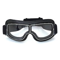 Black leather cruiser motor goggles clear glass