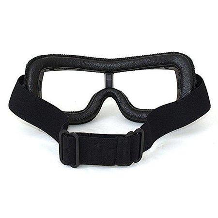 Zwart leren cruiser motorbril helder glas