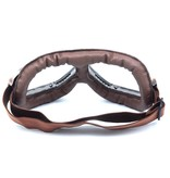 Vintage, bruin leren motorbril helder glas