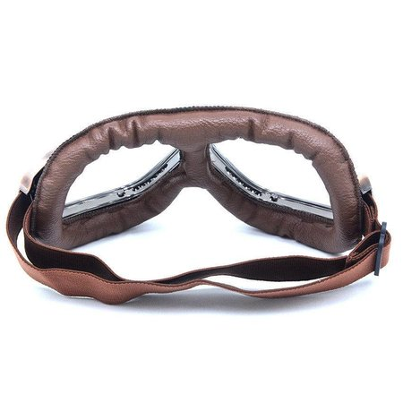 Vintage, brown leather motor goggles clear glass