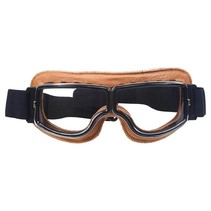 creme leather cruiser motor goggles